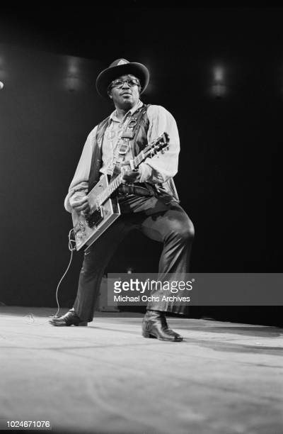 American musician Bo Diddley performs at Madison Square Garden in New York City during the concert movie 'Let the Good Times Roll' 1972 He is using...