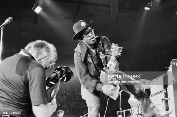 American musician Bo Diddley performs at Madison Square Garden in New York City for the concert movie 'Let the Good Times Roll' May 1972 He is...