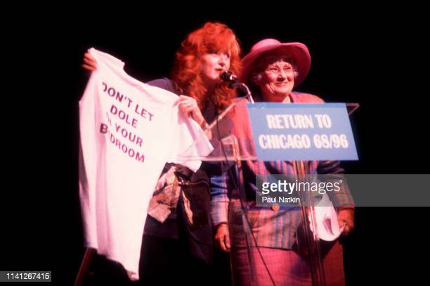 American musician Bonnie Raitt and activist and former politician Bella Abzug speak onstage during the Democratic National Convention's 'Return to...