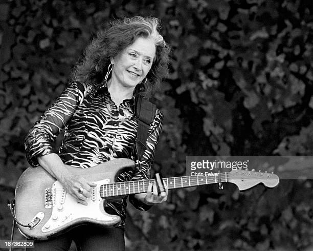 American musician Bonnie Raitt plays guitar on stage New Orleans Louisiana 2012
