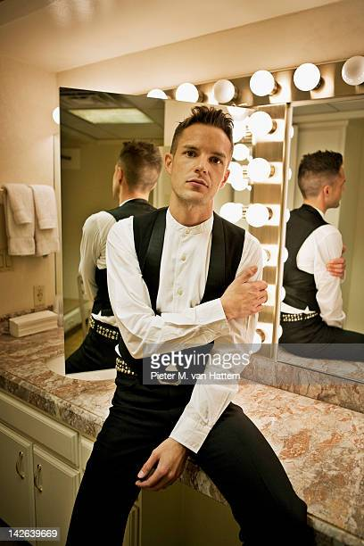 American musician Brandon Flowers photographed for NME on August 15 2010 in Las Vegas Nevada