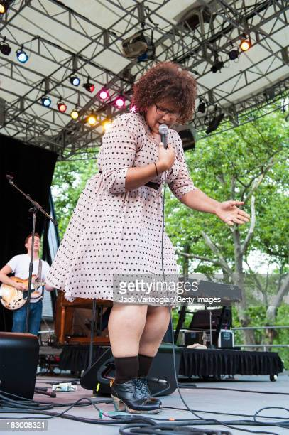 American musician Brittany Howard of the rock group Alabama Shakes plays guitar and and sings onstage at Central Park SummerStage New York New York...