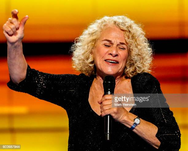 American musician Carole King performs on stage on the final day of the Democratic National Convention at the Wells Fargo Center, Philadelphia,...