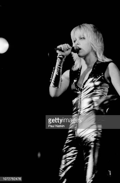 American musician Cherie Currie of the Runaways performs onstage in the midwestern United States 1977