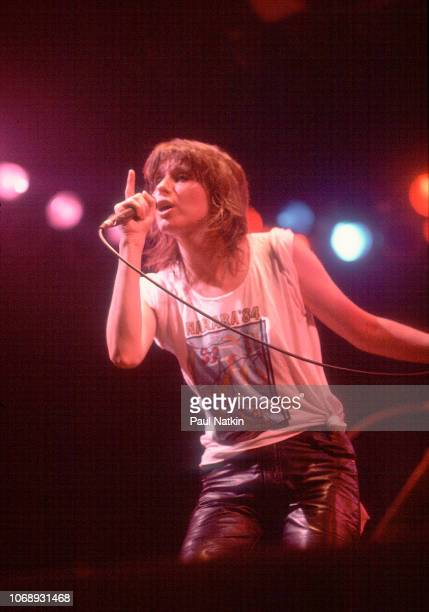 American musician Chrissie Hynde, of the group Pretenders, performs at the Aragon Ballroom, Chicago, Illinois, April 13, 1984.
