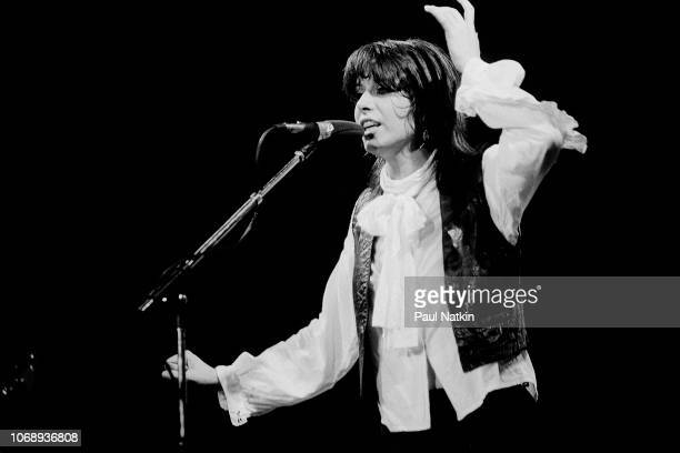 American musician Chrissie Hynde of the group Pretenders performs at the Riviera Theater Chicago Illinois September 8 1980