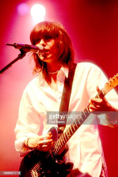 American musician Chrissie Hynde of the group Pretenders plays guitar as she performs at the Rosemont Horizon Rosemont Illinois November 1 1994