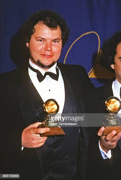 American musician Christopher Cross poses with a Grammy Award New York New York February 25 1981
