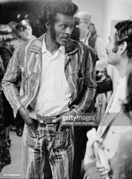 American musician Chuck Berry backstage at Madison Square Garden in New York City during the concert movie 'Let the Good Times Roll' 1972