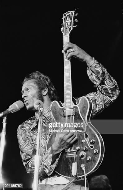 American musician Chuck Berry performs at Madison Square Garden in New York City for the concert movie 'Let the Good Times Roll' May 1972