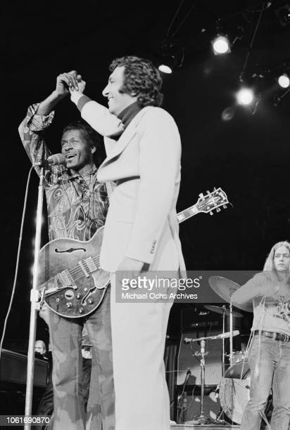 American musician Chuck Berry performs at Madison Square Garden in New York City for the concert movie 'Let the Good Times Roll' May 1972 On the...