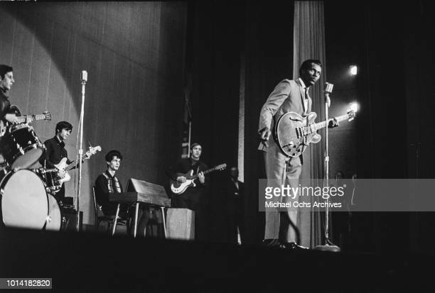 American musician Chuck Berry performs with the Blues Project at the Anderson Theater in New York City circa 1968 The Blues Project are Steve Katz...