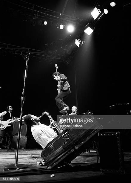 American musician Clarence Clemons and singer Bruce Springsteen with the East Street Band on stage during their West Coast tour of the USA 1978