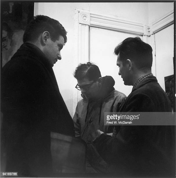American musician composer and conductor David Amram and authors Allen Ginsberg and Jack Kerouac talk together at the Hansa Gallery New York New York...