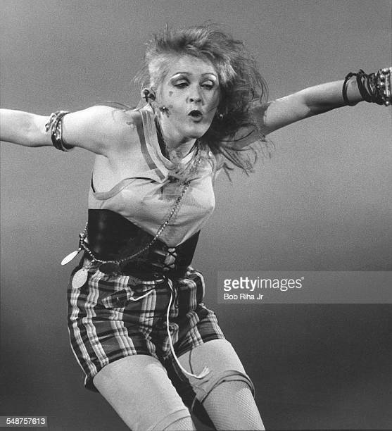 American musician Cyndi Lauper performs onstage during a concert Los Angeles California September 24 1984
