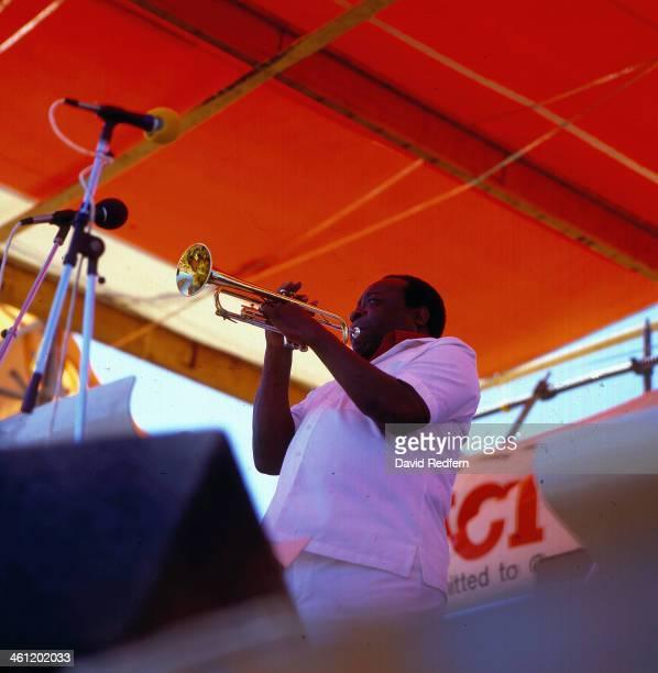 American musician Dave Bartholomew on stage, 1986.