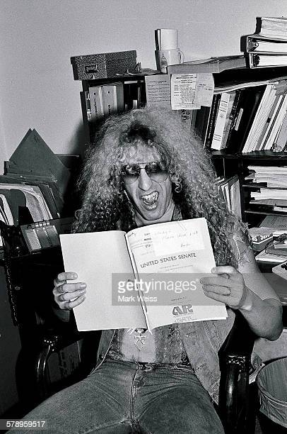 American musician Dee Snider of Twisted Sister poses with papers relating to the PMRC senate hearing at Capitol Hill Washington DC United States 19th...