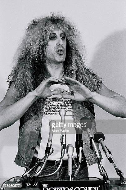 American musician Dee Snider of Twisted Sister talks at a press conference relating to the PMRC senate hearing at Capitol Hill Washington DC United...