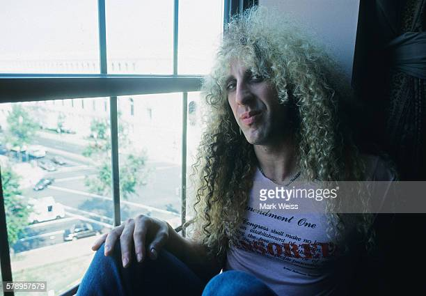 American musician Dee Snider of Twisted Sister wearing a tshirt with a 'Censored' slogan pictured in a hotel room during the PMRC senate hearing at...