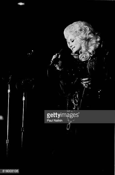 American musician Dolly Parton peforms onstage at the Ivanhoe Theater Chicago Illinois April 29 1977