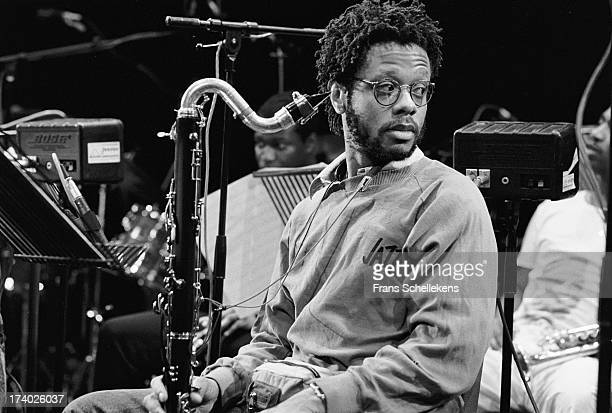 American musician Don Byron performs with bass clarinet at the NOS Jazz festival at de Meervaart in Amsterdam, Netherlands on 11th August 1989.