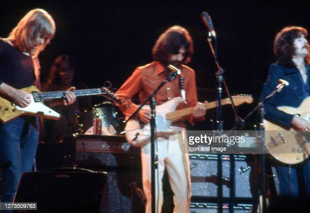 American musician Don Preston, English singer, songwriter, and lead guitarist for the Beatles George Harrison , and English rock and blues guitarist,...