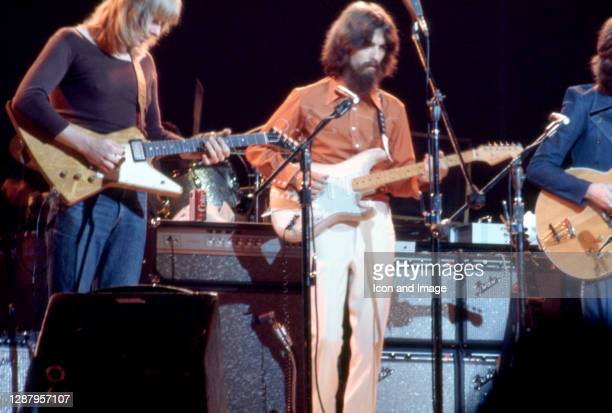 American musician Don Preston, English singer, songwriter, and lead guitarist for the Beatles George Harrison and English rock and blues guitarist,...