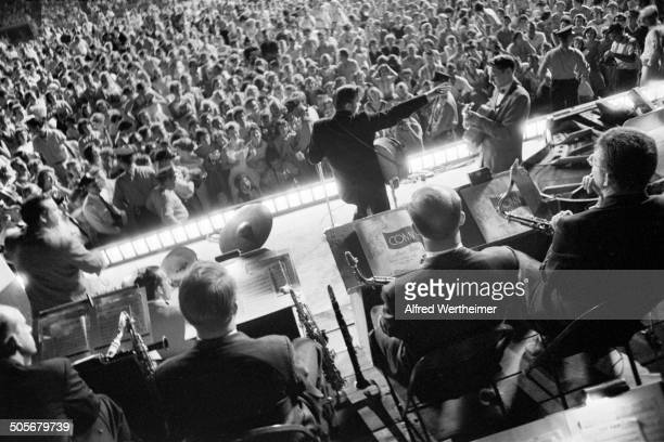 Alfred Wertheimer/Getty Images American musician Elvis Presley performs with his band on stage at Russwood Park Memphis Tennessee July 4 1956