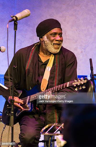 American musician Frank Lacy plays guitar as he performs onstage with the Jazz trio 1032K at the David Rubenstein Atrium at Lincoln Center New York...