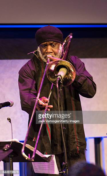 American musician Frank Lacy plays trombone as he performs onstage with the Jazz trio 1032K at the David Rubenstein Atrium at Lincoln Center New York...