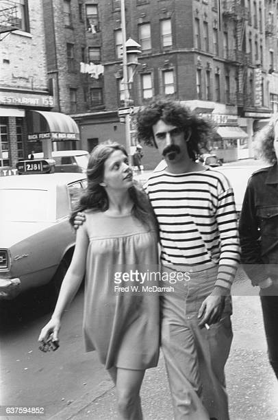 American musician Frank Zappa and his wife Gail Zappa walk along Bleecker Street New York New York May 20 1967 Zappa and his band the Mothers of...