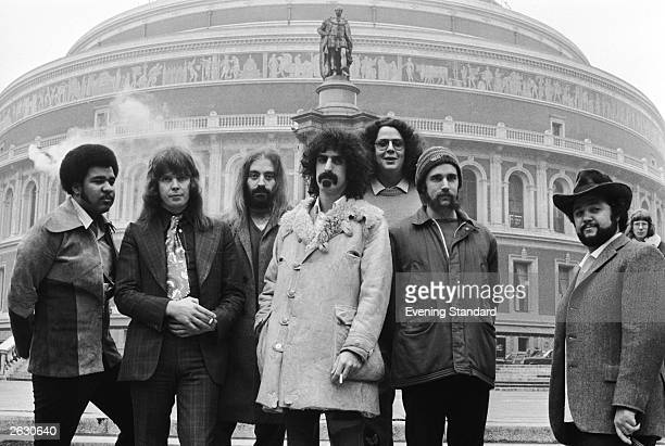 American musician Frank Zappa outside the Albert Hall with his rock band the Mothers Of Invention