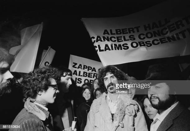 American musician Frank Zappa outside The Royal Albert Hall where a musical performance of his film '200 Motels' with the Mothers of Invention was...