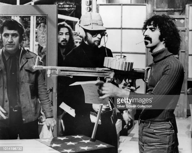 American musician Frank Zappa stars with the Mothers of Invention in the surrealist film '200 Motels' 1971