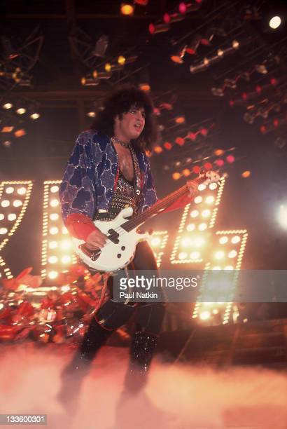 American musician Gene Simmons of the group Kiss performs at the UIC Pavillion Chicago Illinois January 10 1986