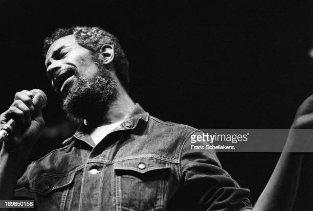 American musician Gil Scott-Heron performs live on stage at the Heineken jazz festival at Doelen in Rotterdam, the Netherlands on 17th September 1988.