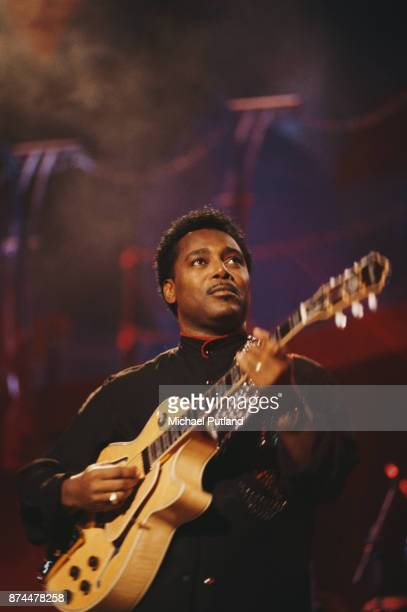 American musician guitarist and singersongwriter George Benson performs on stage circa 1985