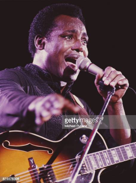 American musician guitarist and singersongwriter George Benson performs on stage circa 1986