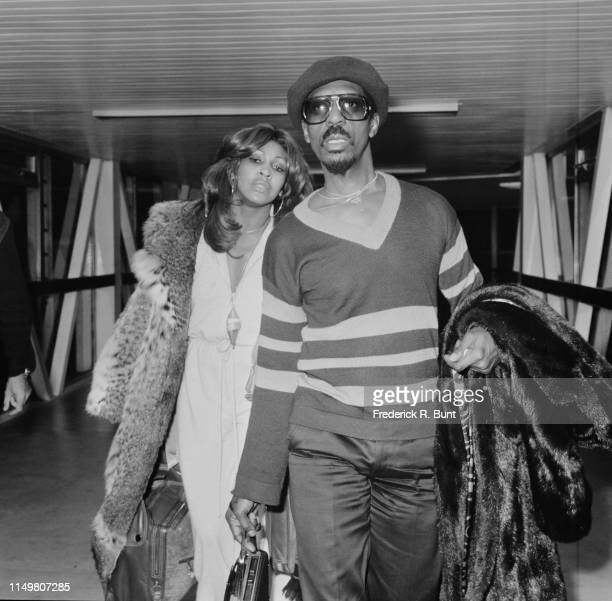 American musician Ike Turner and American singersongwriter Tina Turner at Heathrow Airport London UK 27th October 1975