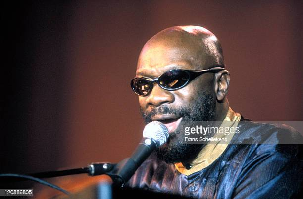 American musician Isaac Hayes performs live on stage at the North Sea Jazz festival in the Congresgebouw, The Hague on 12th July 1996.