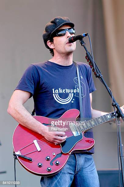 American musician Jakob Dylan of the Wallflowers plays guitar as he performs onstage Chicago Illinois July 4 2003