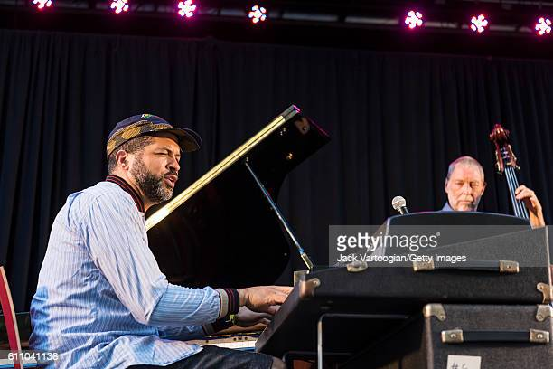 American musician Jason Moran plays piano at the 24th Annual Charlie Parker Jazz Festival in Tompkins Square Park, New York, New York, August 28,...