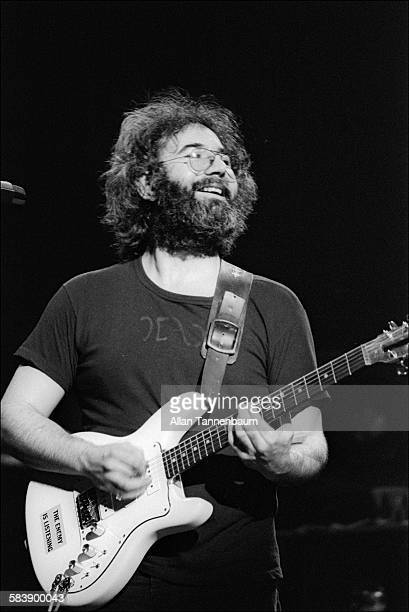 American musician Jerry Garcia of the group the Grateful Dead performs at Madison Square Garden New York New York April 29 1977