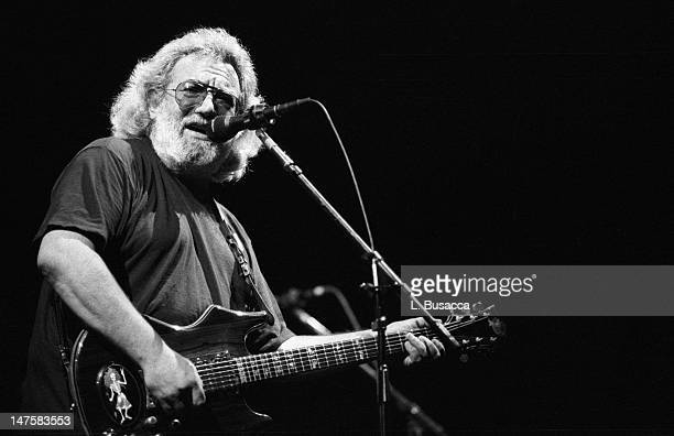 American musician Jerry Garcia of the group the Grateful Dead performs in concert circa 1987
