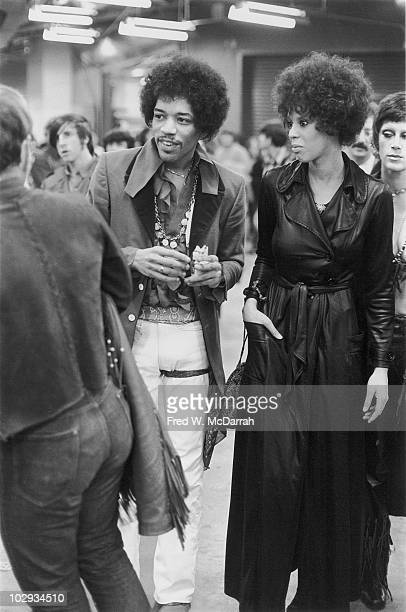American musician Jimi Hendrix and his girlfriend Devon Wilson backstage at the Winter Concert for Peace held at Madison Square Garden January 28 1970