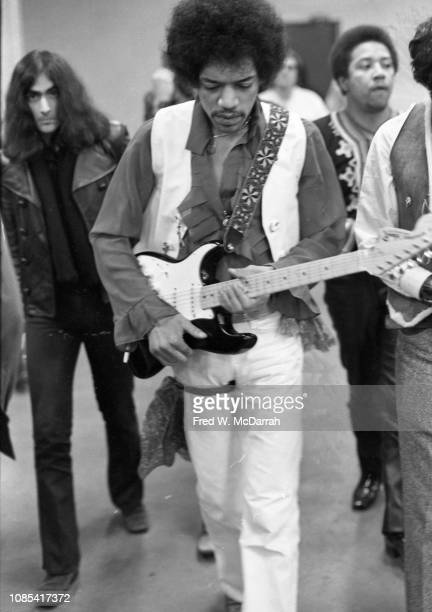 American musician Jimi Hendrix backstage at the Winter Concert for Peace held at Madison Square Garden January 28 1970 Hendrix went on stage early...