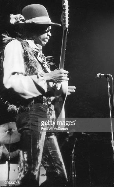 American musician Jimi Hendrix performs on stage at the Fillmore East New York New York May 11 1968