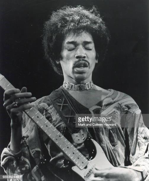 American musician Jimi Hendrix performs on stage at the Isle Of Wight Festival, United Kingdom, 18th August 1970.