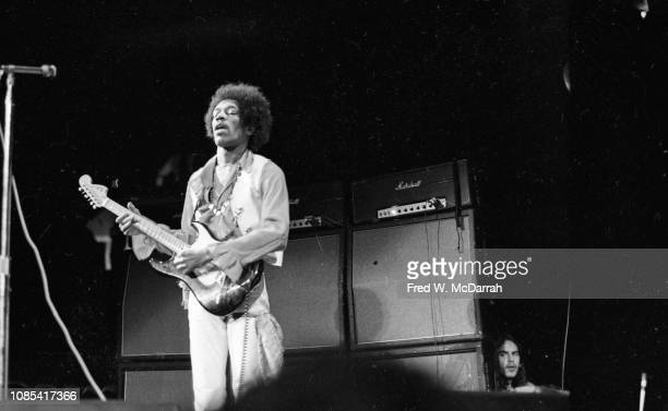 American musician Jimi Hendrix performs on stage at the Winter Concert for Peace held at Madison Square Garden January 29 1970 Hendrix went on stage...