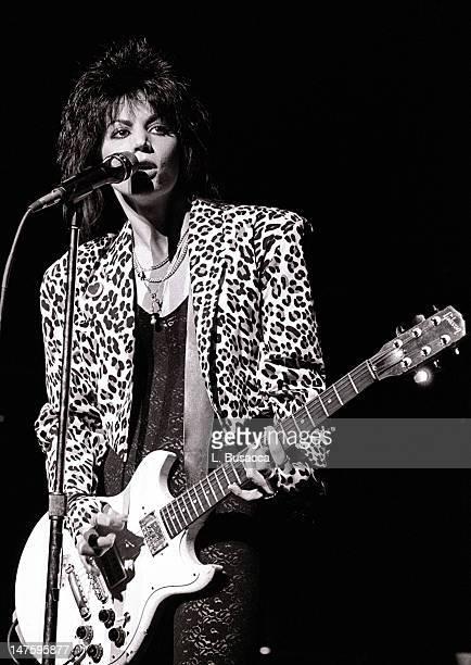 American musician Joan Jett performs in concert New York New York circa 1984